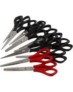 Koulusakset, Pit. 14 cm, oikeakätiset & vasenkätiset, musta, punainen, 12 kpl/ 1 pkk