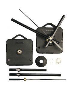 Kellonkoneisto, kiinnitys max. 6 mm paksuun levyyn, musta, 1 set