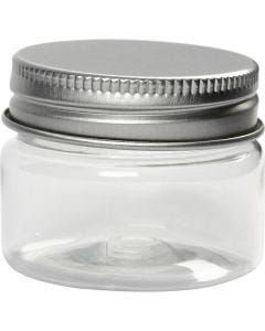 Kierrekantiset muovipurkit, Kork. 35 mm, halk. 45 mm, 10 kpl/ 1 pkk