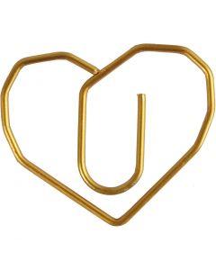 Liittimet, sydän, koko 30x20 mm, kulta, 6 kpl/ 1 pkk