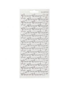 Ääriviivatarrat, Onnea, 10x23 cm, hopea, 1 ark