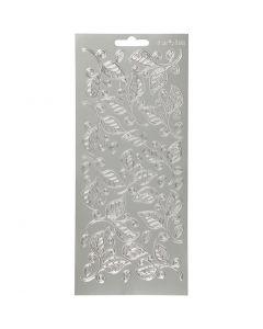 Ääriviivatarrat, lehdet, 10x23 cm, hopea, 1 ark