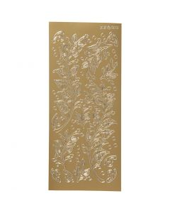 Ääriviivatarrat, lehdet, 10x23 cm, kulta, 1 ark