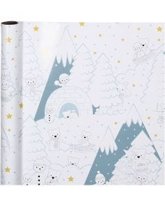 Lahjapaperi, arktinen joulu, Lev: 70 cm, 80 g, 4 m/ 1 rll