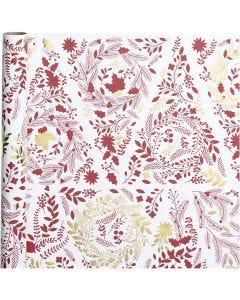 Lahjapaperi, joulukuuset, Lev: 50 cm, 80 g, kulta, punainen, valkoinen, 3 m/ 1 rll