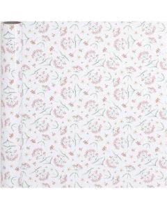 Lahjapaperi, kukat, Lev: 50 cm, 80 g, 5 m/ 1 rll