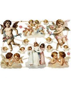 Kiiltokuvat, isommat enkelit, 16,5x23,5 cm, 3 ark/ 1 pkk