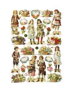 Kiiltokuvat, lapset ja kukat, 16,5x23,5 cm, 3 ark/ 1 pkk