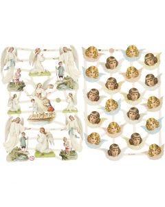 Kiiltokuvat, Nostalgiset enkelit, 16,5x23,5 cm, 2 ark/ 1 pkk