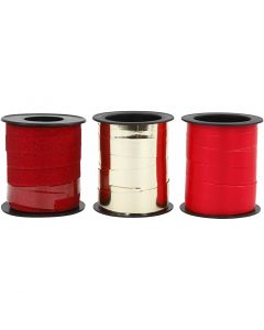 Lahjanauha, kulta, punainen, glitter punainen, 3x15 m/ 1 pkk