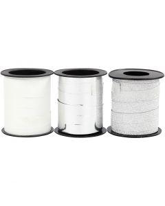 Lahjanauha, hopea, kimallehopea, valkoinen, 3x15 m/ 1 pkk