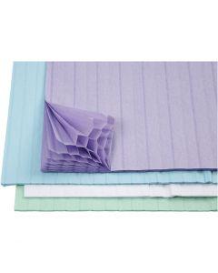 Kennopaperi, 28x17,8 cm, vaaleansininen, vihreä, violetti, valkoinen, 4x2 ark/ 1 pkk