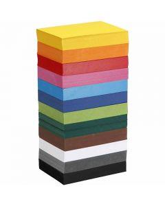 Värillinen kartonki, A6, 105x148 mm, 180 g, värilajitelma, 12x100 ark/ 1 pkk