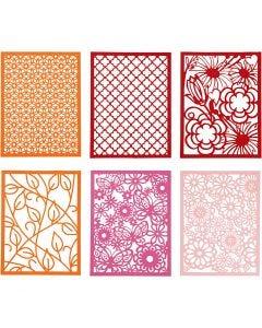 Pitsikartongit, A6, 104x146 mm, 200 g, oranssi, pinkki, punainen, rosa, 24 kpl/ 1 pkk