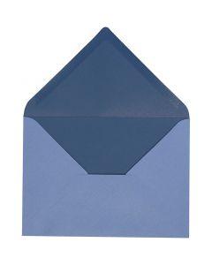 Kirjekuori, kirjekuoren koko 11,5x16 cm, 100 g, vaaleansininen/tummansininen, 10 kpl/ 1 pkk