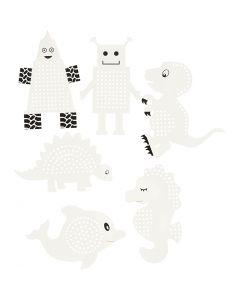 Ompelukartonki, Eläimet/robotit, Kork. 8-13 cm, valkoinen, 6x3 kpl/ 1 pkk