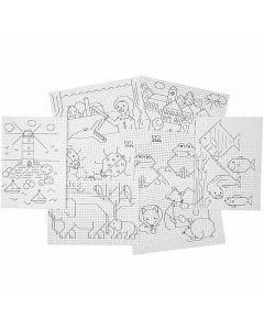 Esipainetut ompelukartongit, 3x3 reikää/cm , 8x5 ark/ 1 pkk