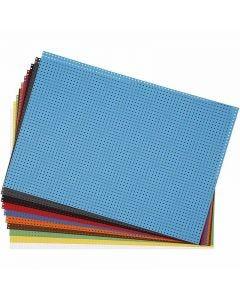 Ompelukartongit, koko 23x33 cm, 3x3 reikää/cm , värilajitelma, 10 laj/ 1 pkk