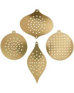 Ompelukartonki, jouluornamentti, Kork. 8,5-12 cm, aukon koko 3 mm, metallic kulta, 8 kpl/ 1 pkk