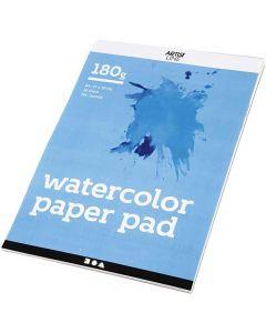 Akvarellilehtiö, A4, 210x297 mm, 180 g, valkoinen, 20 ark/ 1 kpl
