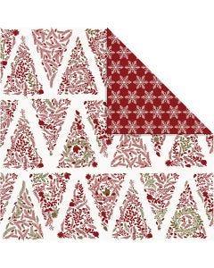 Kuviopaperi, joulupuut ja jääkiteet, 30,5x30,5 cm, 180 g, kulta, punainen, valkoinen, 3 ark/ 1 pkk