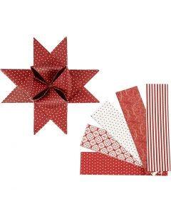 Paperitähtisuikaleet, Pit. 100 cm, halk. 18 cm, Lev: 40 mm, punainen, valkoinen, 40 suikaleet/ 1 pkk