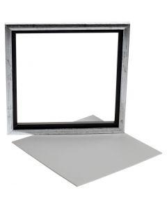 Maalattu kehys + maalauslevy, syvyys 1,5 cm, koko 25x25 cm, valkoinen, 1 kpl