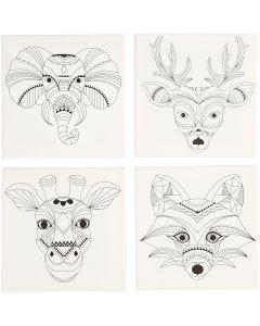 Painettu taulupohja, eläimet, koko 20x20 cm, 280 g, valkoinen, 4 kpl/ 1 pkk