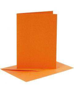 Korttipohjat ja kirjekuoret, kortin koko 10,5x15 cm, kirjekuoren koko 11,5x16,5 cm, 110+220 g, oranssi, 6 set/ 1 pkk