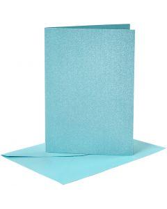 Kortit ja kuoret, kortin koko 10,5x15 cm, kirjekuoren koko 11,5x16,5 cm, helmiäinen, 120+210 g, sininen, 4 set/ 1 pkk
