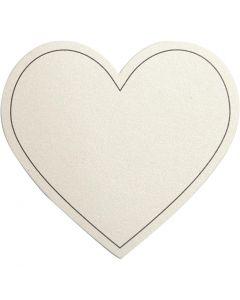 Sydän, koko 75x69 mm, 120 g, luonnonvalkonen, 10 kpl/ 1 pkk