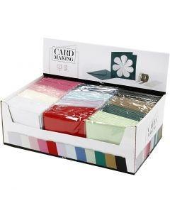 Korttipohja-/kirjekuoripakkaus, kortin koko 15,2x15,2 cm, kirjekuoren koko 16x16 cm, 230 g, värilajitelma, 12x10 pkk/ 1 pkk