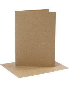 Korttipohja-/kirjekuoripakkaus, kortin koko 12,7x17,8 cm, kirjekuoren koko 13,3x18,5 cm, 230 g, luonnonrusk., 4 set/ 1 pkk