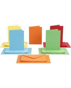Korttipohjat ja kirjekuoret, kortin koko 10,5x15 cm, kirjekuoren koko 11,5x16,5 cm, 110+220 g, värilajitelma, 50 set/ 1 pkk