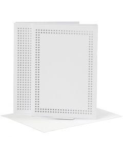Ompelukortit, kortin koko 10,5x15 cm, kirjekuoren koko 11,5x16,5 cm, valkoinen, 6 kpl/ 1 pkk