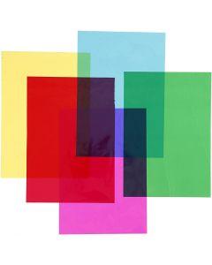 Sellofaani, 210x297 mm, värilajitelma, 5x20 ark/ 1 pkk