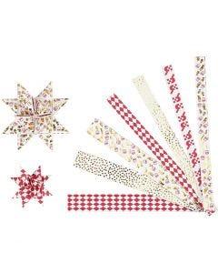 Paperitähti-suikaleet, Pit. 44+78 cm, halk. 6,5+11,5 cm, Lev: 15x25 mm, kulta, punainen, valkoinen, 48 suikaleet/ 1 pkk