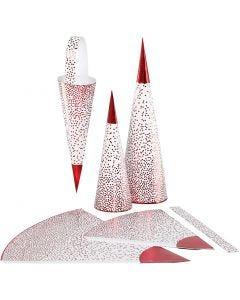 Paperikartiot, Kork. 18+28 cm, 120 g, punainen, valkoinen, 3 kpl/ 1 pkk