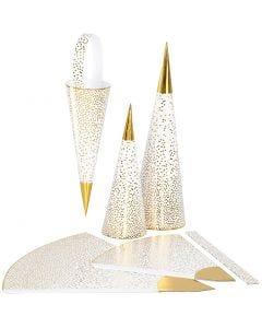 Paperikartiot, Kork. 18+28 cm, 120 g, kulta, valkoinen, 3 kpl/ 1 pkk