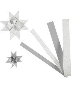 Paperisuikaleet, Pit. 44+78 cm, halk. 6,5+11,5 cm, Lev: 15+25 mm, kimalle,lakka, hopea, 40 suikaleet/ 1 pkk