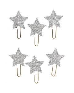 Liittimet, tähti, halk. 30 mm, kimallehopea, 6 kpl/ 1 pkk