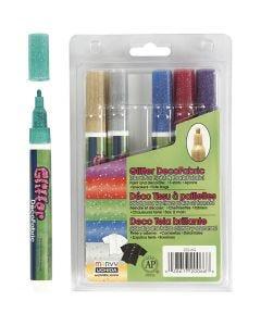 Deco tekstiilitussit, kimalle, paksuus 3 mm, glitter värit, 6 kpl/ 1 pkk