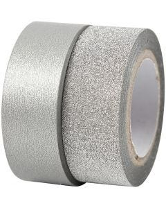 Design-teippi, Lev: 15 mm, hopea, 2 rll/ 1 pkk