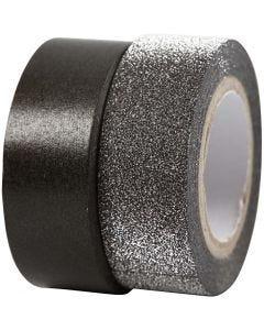 Design-teippi, Lev: 15 mm, musta, 2 rll/ 1 pkk