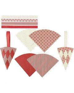 Punotut kartiot, Kork. 19,3 cm, Lev: 9,2 cm, punainen, valkoinen, 8 set/ 1 pkk