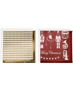 Koristefolio ja siirtoarkki, Pähkinänsärkijä, joulupukki ja ballerina, 15x15 cm, kulta, punainen, valkoinen, 4 ark/ 1 pkk