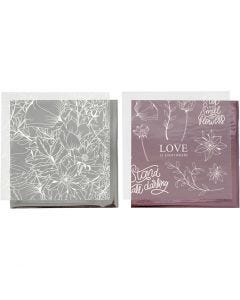 Koristefolio ja siirtoarkki, Kukat, 15x15 cm, rosa, hopea, 4 ark/ 1 pkk