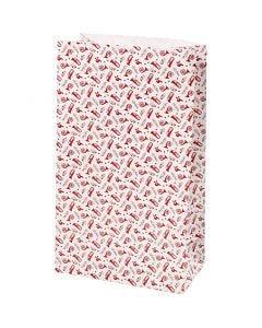 Paperipussi, Trumpetti, Kork. 21 cm, koko 6x12 cm, 80 g, punainen, valkoinen, 8 kpl/ 1 pkk