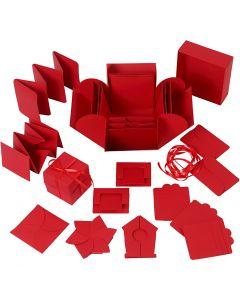 Yllätysrasia, koko 7x7x7,5+12x12x12 cm, punainen, 1 kpl