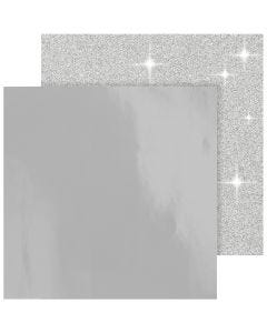 Kuviopaperi, 30,5x30,5 cm, 120+128 g, hopea, 2 ark/ 1 pkk